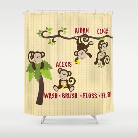 Monkey Family  Personalized Shower Curtain