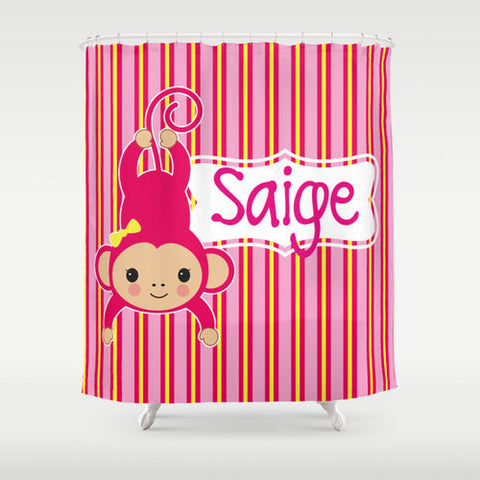 Pink Monkey Personalized Shower Curtain