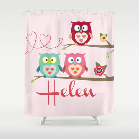 Owls on a Branch Personalized Shower Curtain