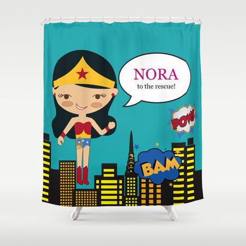Wonder Girl Personalized Shower Curtain
