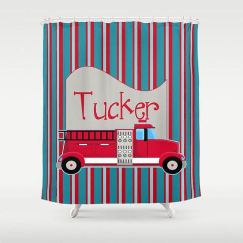 Fire Truck  Personalized Shower Curtain