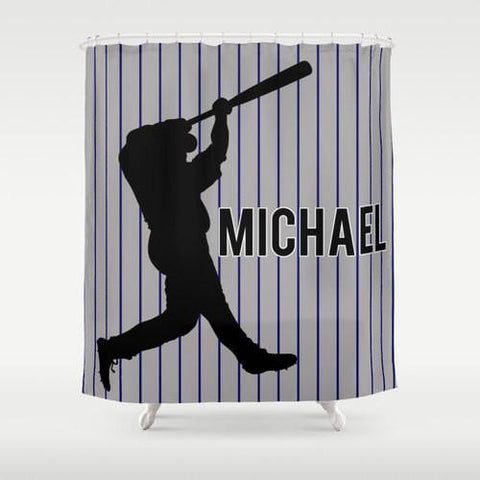 Baseball Star Personalized Shower Curtain
