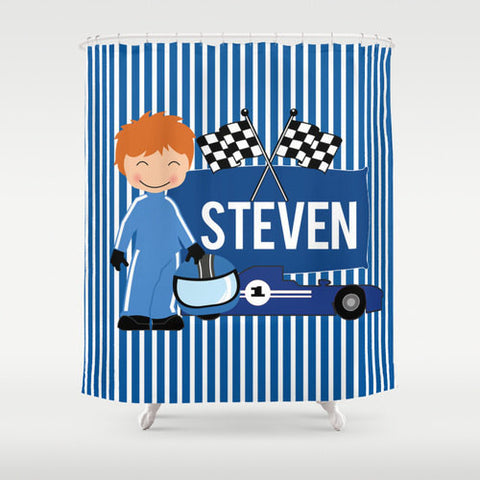 Nascar Race II Personalized Shower Curtain