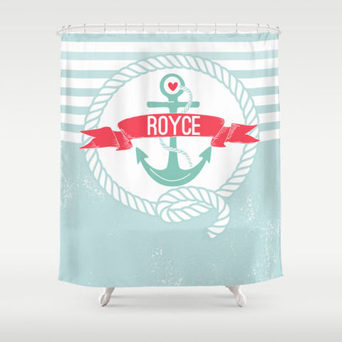 Nautical Design, Anchor Personalized Shower Curtain  - Children's  Bathroom Decor