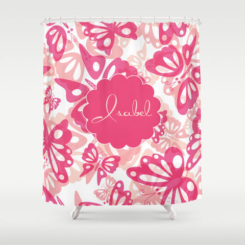 Pink Butterflies  Personalized Shower Curtain