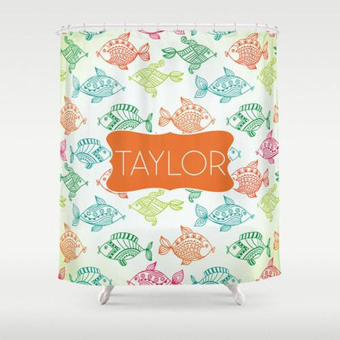 Colorful Fish  Personalized Shower Curtain