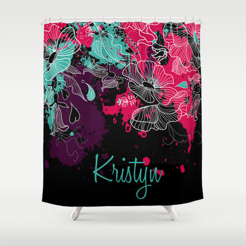Teal & Fushia  Personalized Shower Curtain