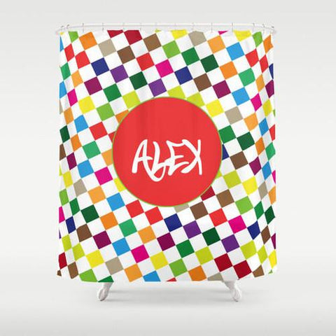 Colorful Checkered Pattern Personalized Shower Curtain