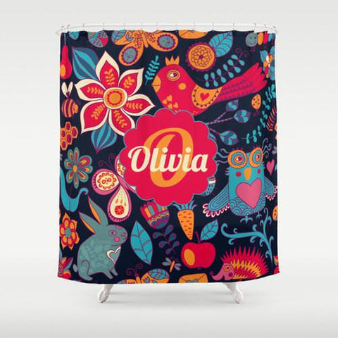 Colorful Woodland Animals   Personalized Shower Curtain