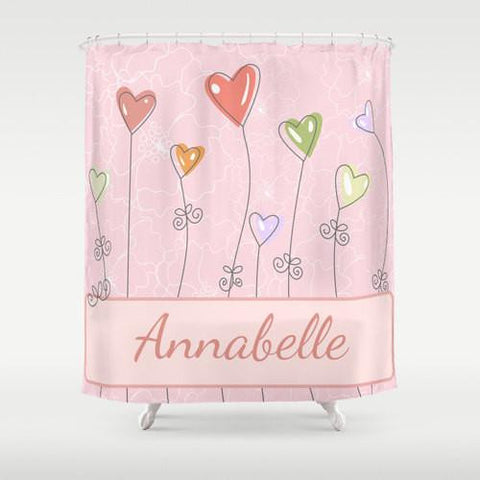 Heart Flowers   Personalized Shower Curtain