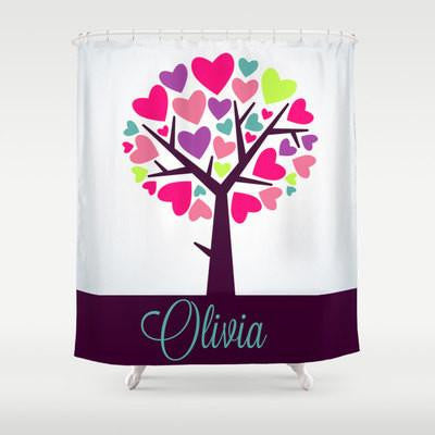 Colorful Heart Tree  Personalized Shower Curtain