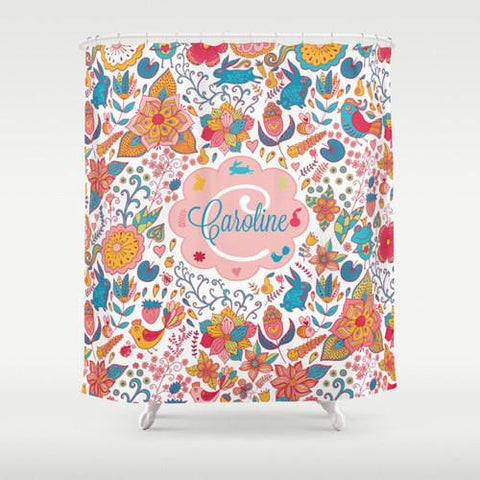Flowers, Birds & Rabbits Personalized Shower Curtain