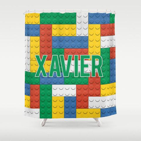 Lego Inspired II Personalized Shower Curtain