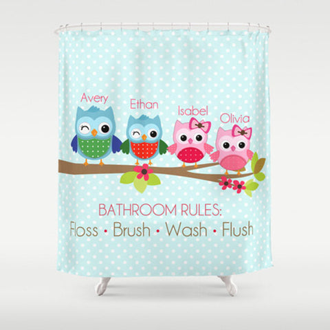 Owl Family, Bathroom Rules Personalized Shower Curtain -Children's  Bathroom Decor