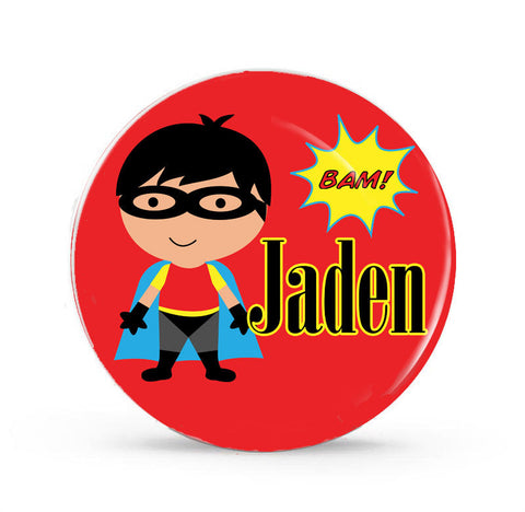 Super Boy with Mask-Personalized Melamine Plate -- Style 040