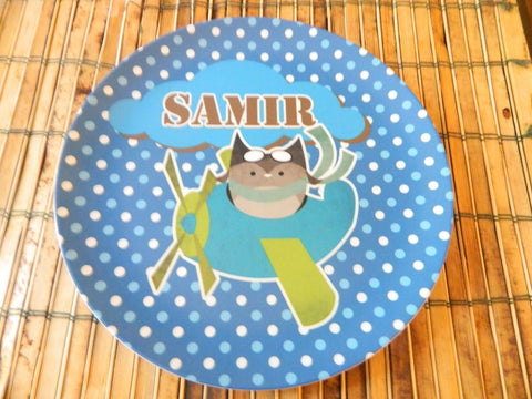 Aviator Cat- Personalized Melamine Plate - Style 060
