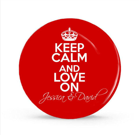 Keep Calm and Love On Monogram Plate