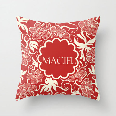 Orange Ornate Floral Monogram Throw Pillow