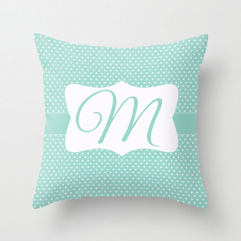 Pool Blue Dots Monogram Throw Pillow