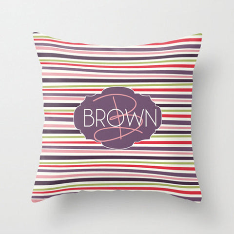 Multi Color Stripe Monogram Throw Pillow