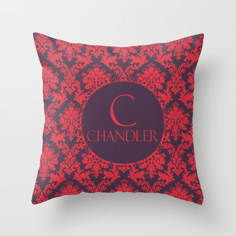 Red & Wine Damask   Monogram Throw Pillow