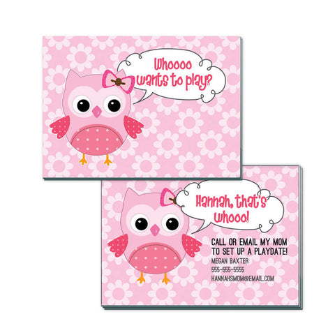 Pink Owl Personalized Playdate Calling Cards
