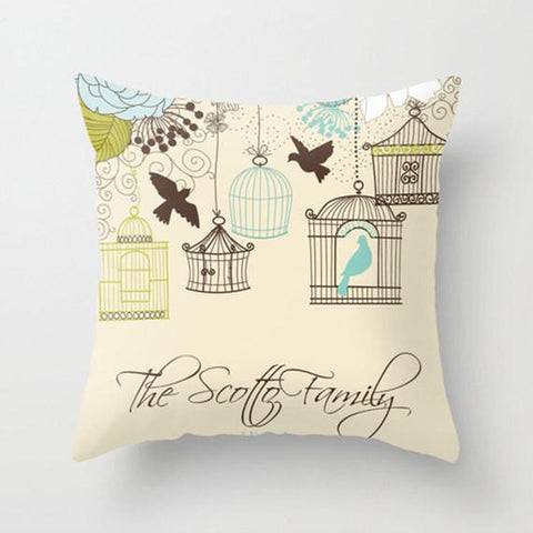 Birds on a Wire Monogram Throw Pillow