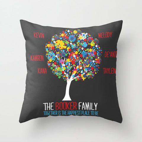 Paint Splatter Family Tree Monogram Pillow