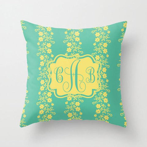 Lemon & LimeMonogram Throw Pillow