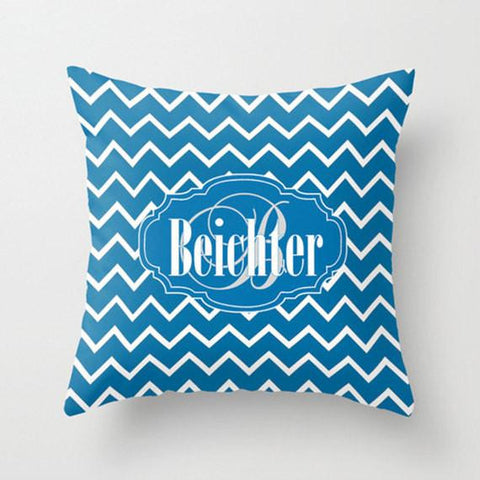 Horizon Blue Chevron Monogram Throw Pillow