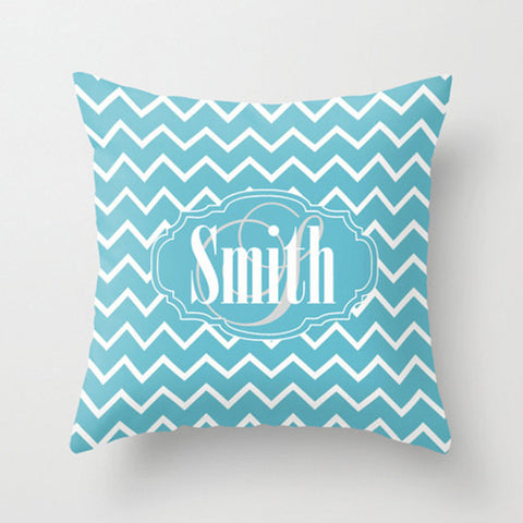 Sky Blue Chevron Monogram Throw Pillow