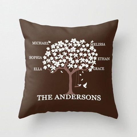 Brown & White Family Tree Monogram Throw Pillow