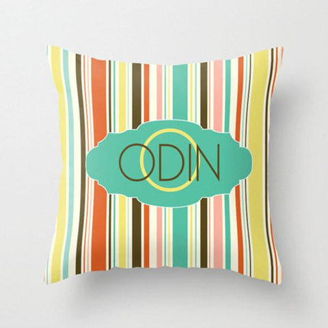 Bright Multi Stripe  Monogram Throw Pillow