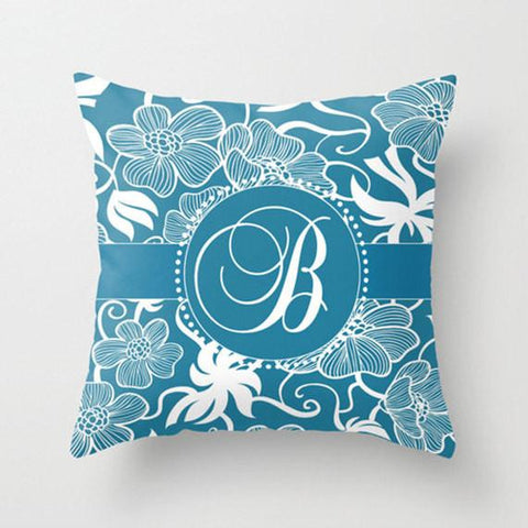 Blue OrnateMonogram Throw Pillow