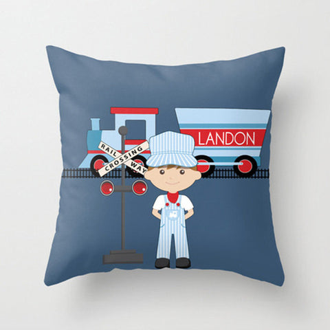 Train Conductor - Personalized Throw Pillow for Kids
