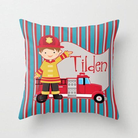 Fireman Personalized Throw Pillow for Kids