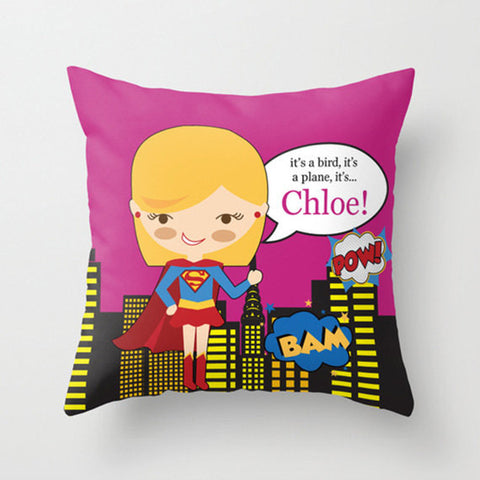 Super Girl  Personalized Throw Pillow for Kids
