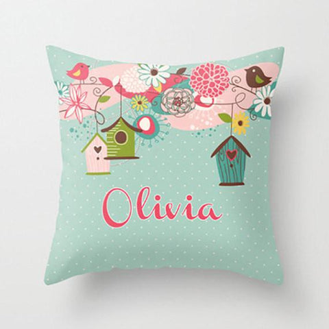 Beautiful Birdcage Personalized Throw Pillow for Kids