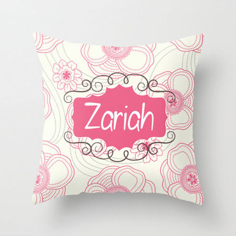 Pink & Cream Floral Personalized Throw Pillow