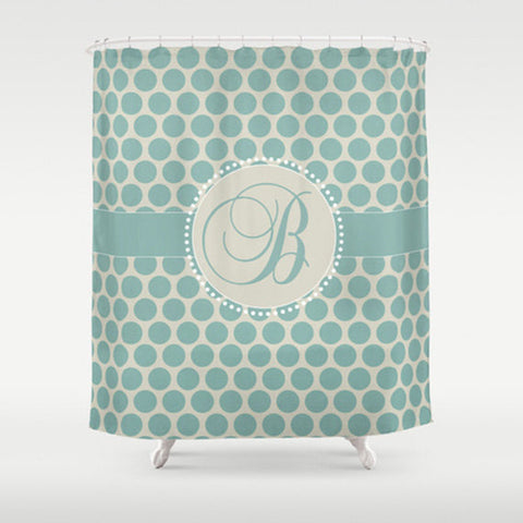 Teal Dots   Personalized Shower Curtain