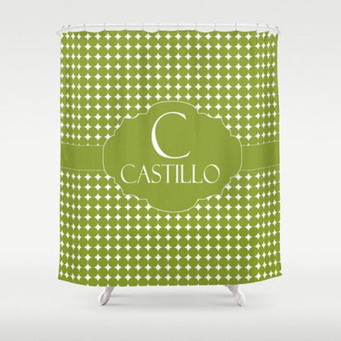 Fern Dots Monogram   Personalized Shower Curtain