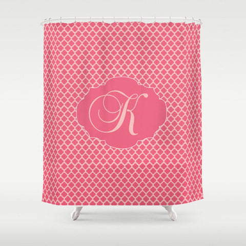Rose Monogram   Personalized Shower Curtain