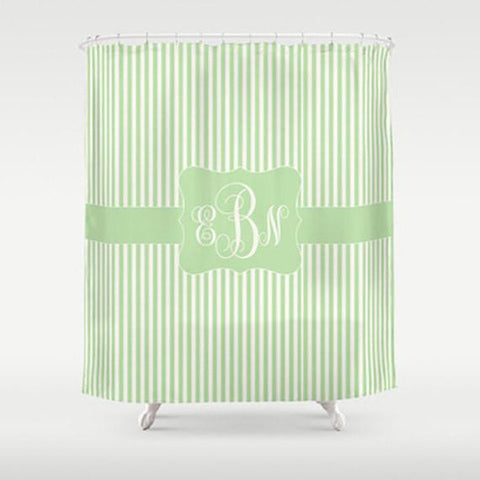 Honeydew Stripe   Personalized Shower Curtain