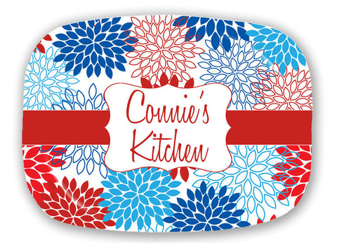 Patriotic Floral Bursts Personalized Serving Tray