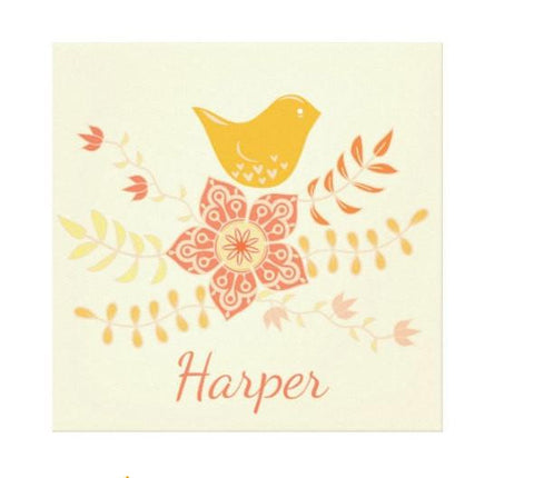 Bird on a Flower Personalized Kids Wall Art