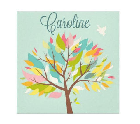 Colorful Leafy Tree Personalized Kids Wall Art