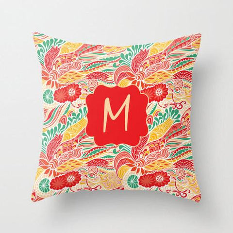 Abstract Colorful Floral   Monogram Throw Pillow