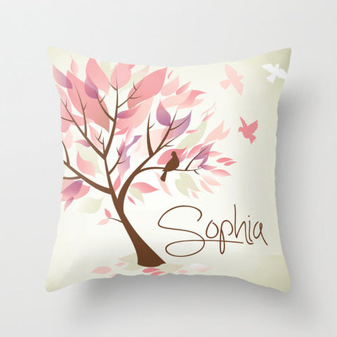 Pastel & Cream Tree  Monogram Throw Pillow
