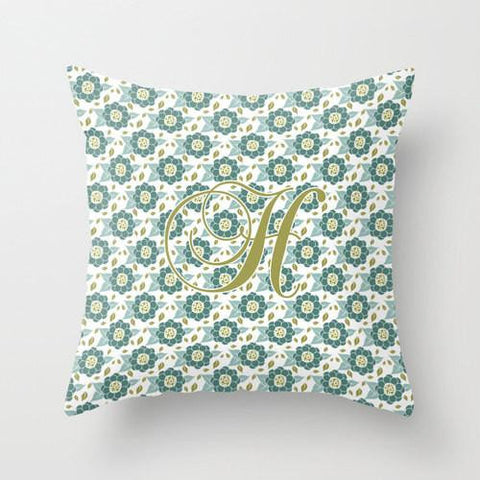 Celery Floral  Monogram Throw Pillow