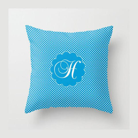 Blue Monogram Dots Monogram Throw Pillow